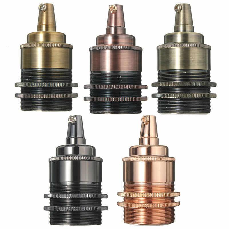 Hot E27 / E26 Light Bulb Holder Lamp Base Retro Vintage Antique Copper Socket Fitting Shade Dual Rings Cord Grip 110-220V