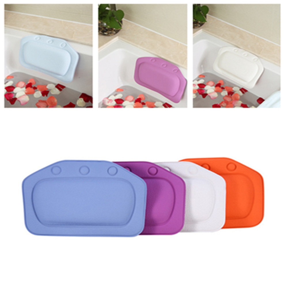 Healthy Bathtub Bath Pillow Soft PVC Waterproof Neck Bathtub Cushion Release Stress Relax Headrest Pillow Bathroom Accessories