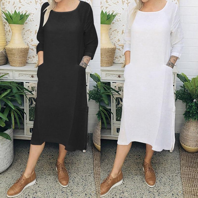 b0dacabb1c29d US $10.06 5X Big Size Dresses Summer 2019 Cotton Linen Shirt Women ...
