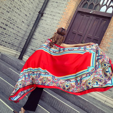 купить LEAYH New Fashion Sunscreen Beach Faux Silk Scarf Wraps For Women Print Cotton and Hemp Travel Beach Shawls Large Scarves дешево