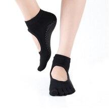 Women Yoga Socks Anti-slip Five Fingers Backless Silicone Non-slip 5 Toe Ballet Gym Fitness Sports Cotton 2019