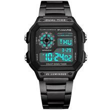 Men Electronic Waterproof Square Dial Dual Time Calendar Outdoor sport Digital Wrist Watch Relojes