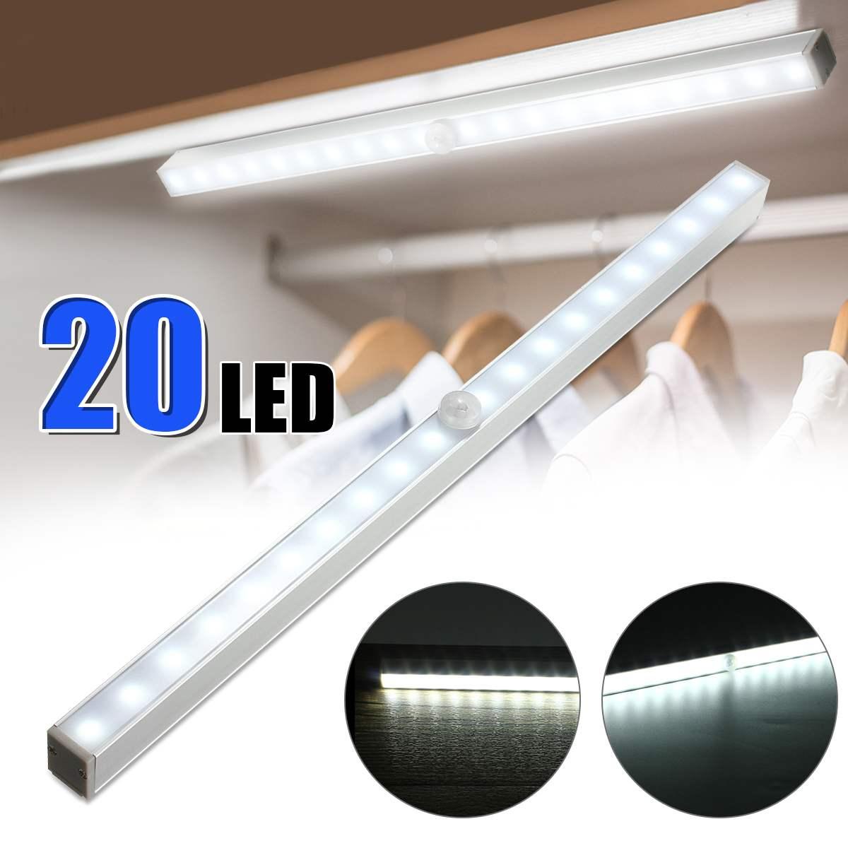 LED Under Cabinet Light 20 LEDs PIR Motion Sensor Battery Power Cabinet Drawer Light Closet Cabinet Lamp Night Light LED Lamps