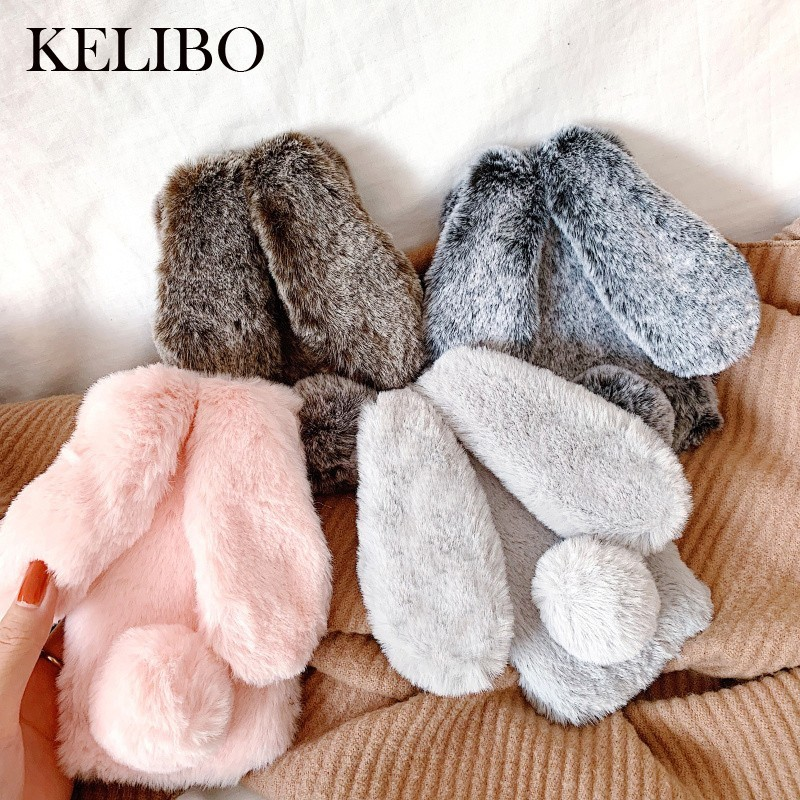 Cute Rabbit Ears Case For Huawei P20 Pro P8 P9 Lite Bunny Plush Fur Hair Soft Silicon Phone Case For Mate 20 Pro Glitter Cover
