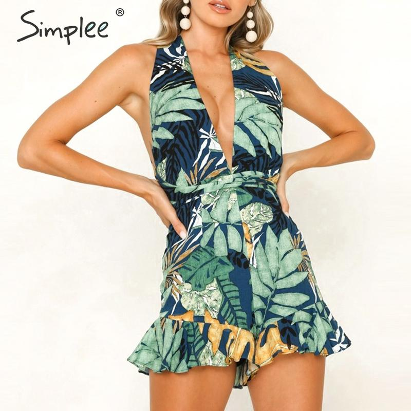 Simplee Deep v-neck bohemian leaf print women playsuit Summer beach holiday ladies   jumpsuit   romper Sexy backless sashes overalls