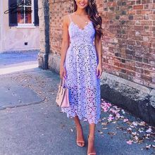 V-neck Lace Crochet Backless Women Midi Dress Sleeveless High Waist Hollow Out Sexy Dresses 2019 Summer Purple Clothes