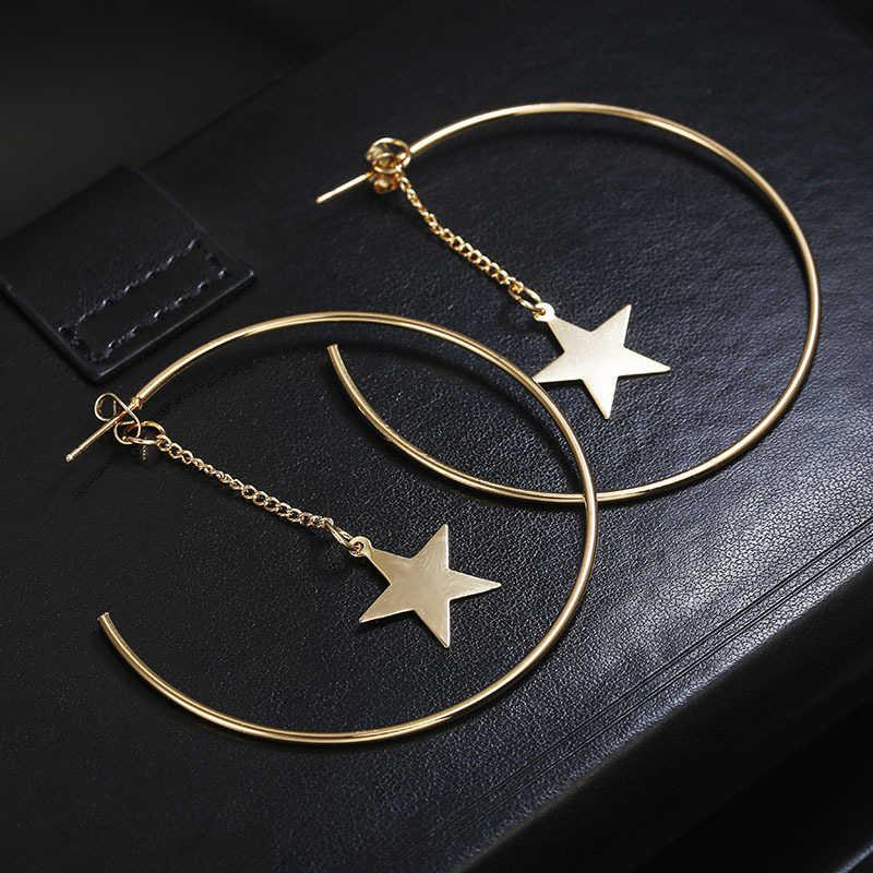 Золотые Большие Круглые Серьги-кольца высокого качества, 1 пара, свадебные модные ювелирные изделия, звезда, круглые подарки, хит продаж, красивые, Новое поступление 2019