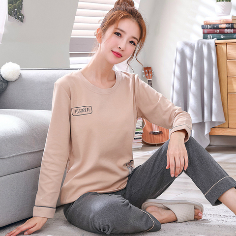 2019 Sleep Lounge Pajama Long Sleeve Top + Long Pant Woman Pajama Set Cartoon Pyjamas Cotton Sleepwear For Women M L XL XXL XXXL Islamabad