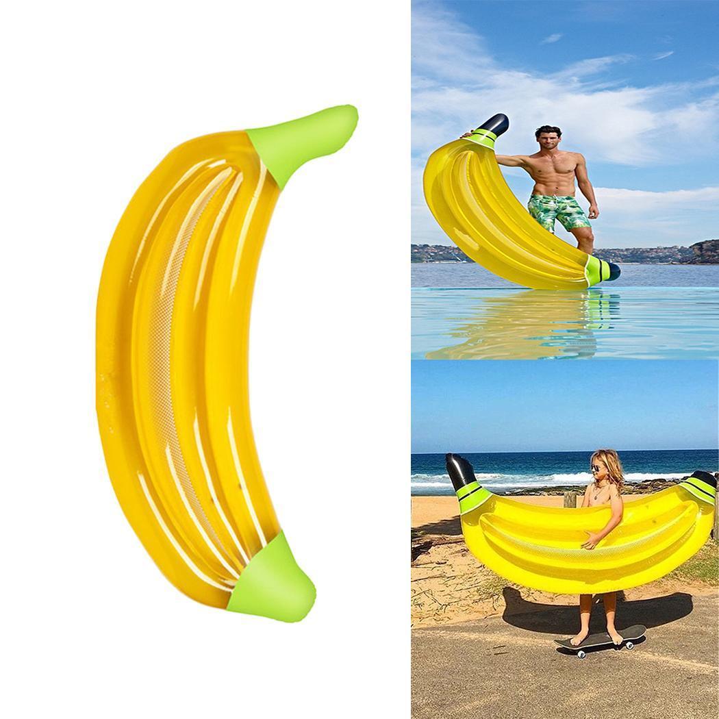 Flotteur jaune gonflable de lit d'eau de rangée de forme de banane nageant 100 KG parc aquatique de piscine