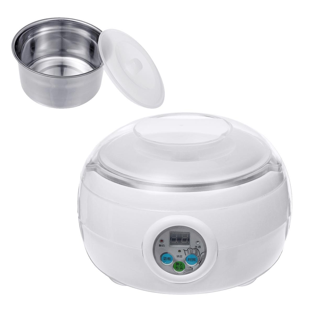 14x21cm:  1.5L 220V 15W White Electric Automatic Yoghurt Maker Rice Wine Natto Cuisine Container Yogurt Maker Kitchen Appliance 14x21cm - Martin's & Co