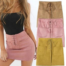Women Bodycon Leather Suede Short High Waist Bandage Skirt Lace Up Pencil