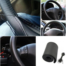 цена на DIY Car Auto Truck PU Leather Steering Wheel Cover Protector  With Needles and Thread Anti Skid Drop Shipping #1123