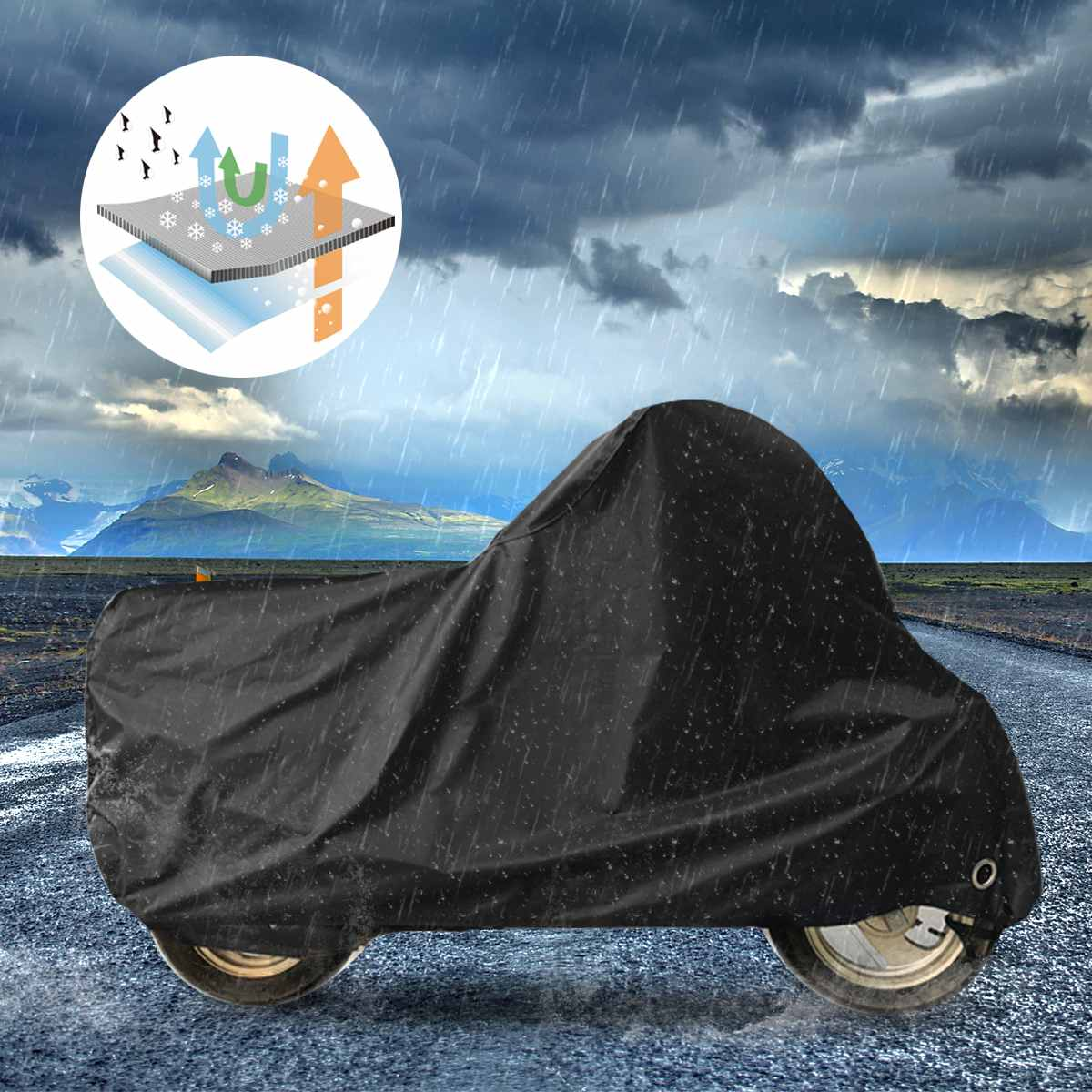 L/XL/2XL/3XL/4XL 190T Waterproof Motorcycle Cover Case Outdoor Dust UV Protector 190T Polyester Elastic Hem Protect Rain Dust