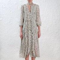 Клены каскад оборками платье в Перл креп с лозы печати V шеи длинное платье
