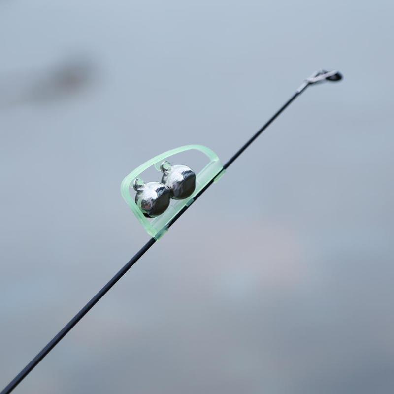 Glow In Dark Fishing Alarm Clip Outdoor Twin Bells Ring Fishing Rod Clamp Bells Bite Clip Lure Bells Alarm Fishing Accessories