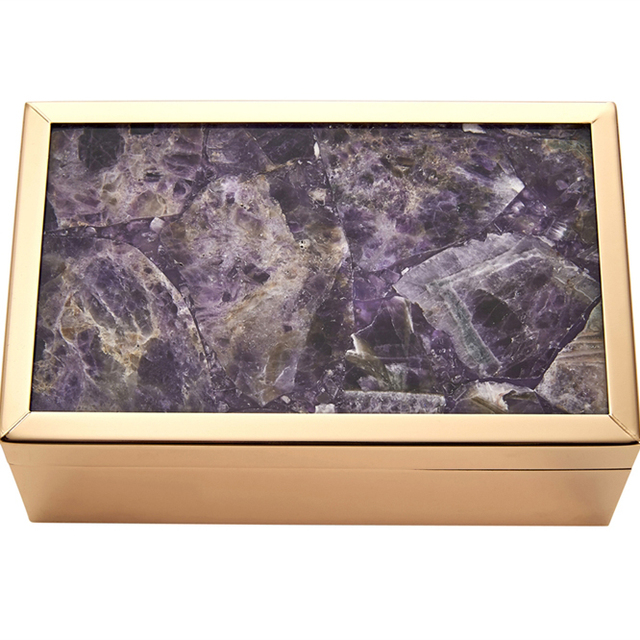 Enchanting Metal And Wood Storage Box With Agate Top, Purple