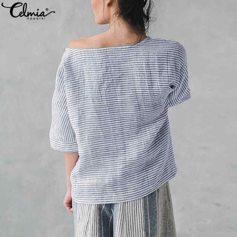 d0526367eb44 ... Celmia Women Striped Blouses 2019 Summer Vintage Cotton Linen Shirts Tunic  Tops Casual Loose Chic Blusas ...