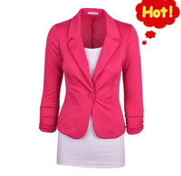 Spring Autumn Jackets for Women Short and Fresh Blazer Women Jacket Cotton Spandex Ladies Blazers Candy Color Free Shipping G3P7