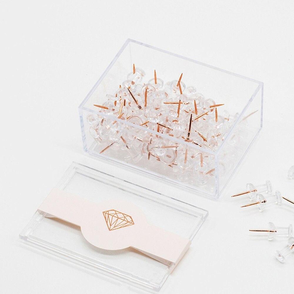 Pin Office Binding Supplies Box Of 100pcs-scll Never Rose Gold Thumbtacks Creative Lucency Push Pins For Memo Board Or Cork Board