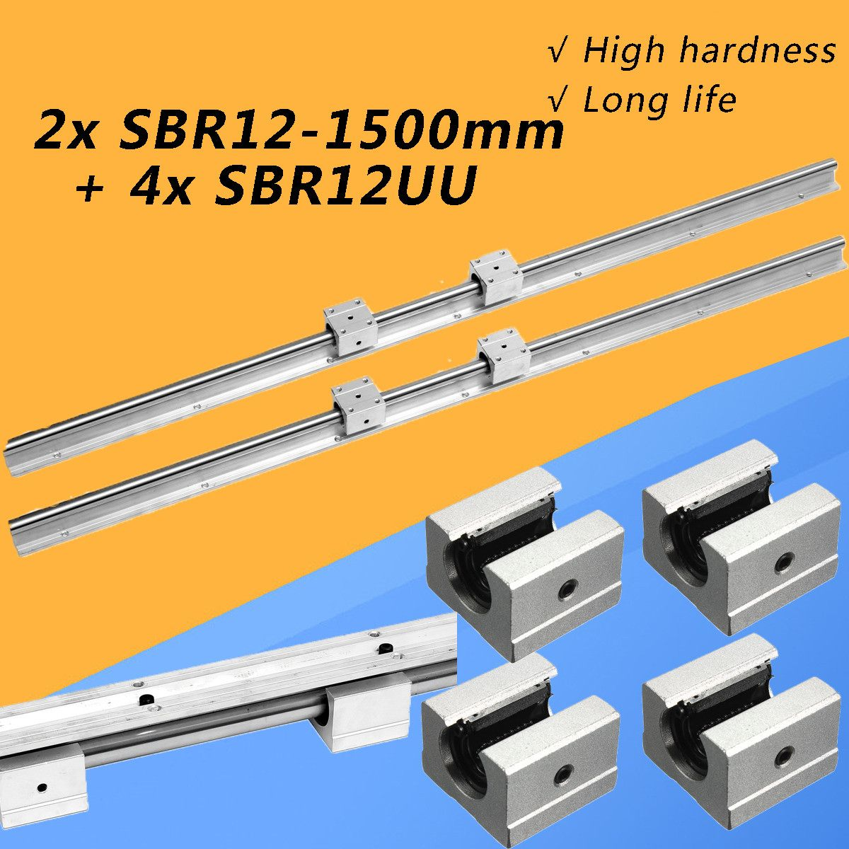 2Set SBR12 1500mm Fully Supported Linear Rail Slide Shaft Rod Optical Axis Guide With 4Pcs SBR12UU Bearing Block2Set SBR12 1500mm Fully Supported Linear Rail Slide Shaft Rod Optical Axis Guide With 4Pcs SBR12UU Bearing Block