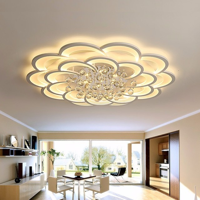 White Modern LED Ceiling Lights Fixture With Remote For Living Dining Room Home Bedroom Plafon Lamp Crystal Lighting Lustre