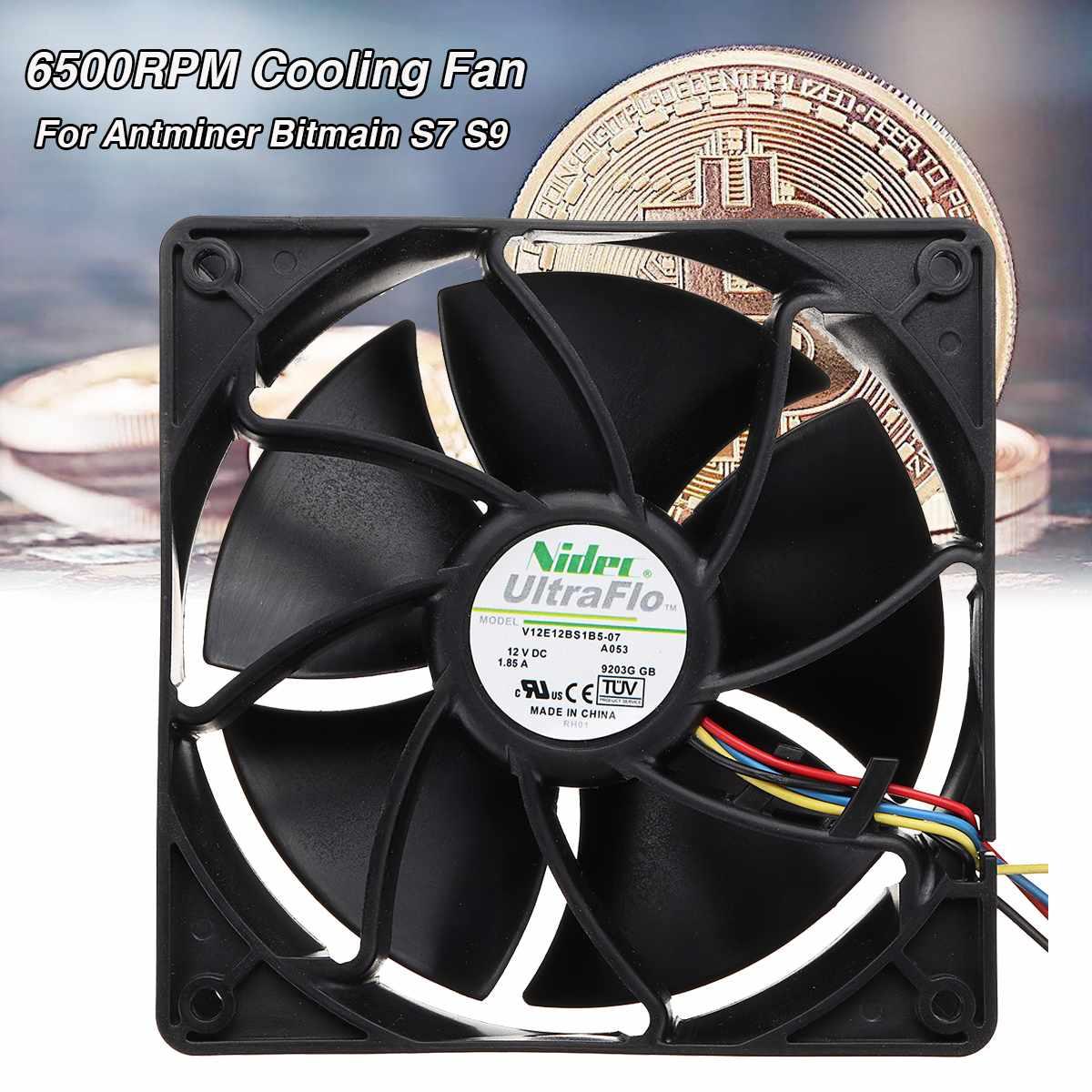 6500 RPM S7 S9 negro ordenador ventilador de refrigeración de la CPU Replacement 4-pin conector PWM Control de temperatura para Antminer Bitmain 12 V/1.85A