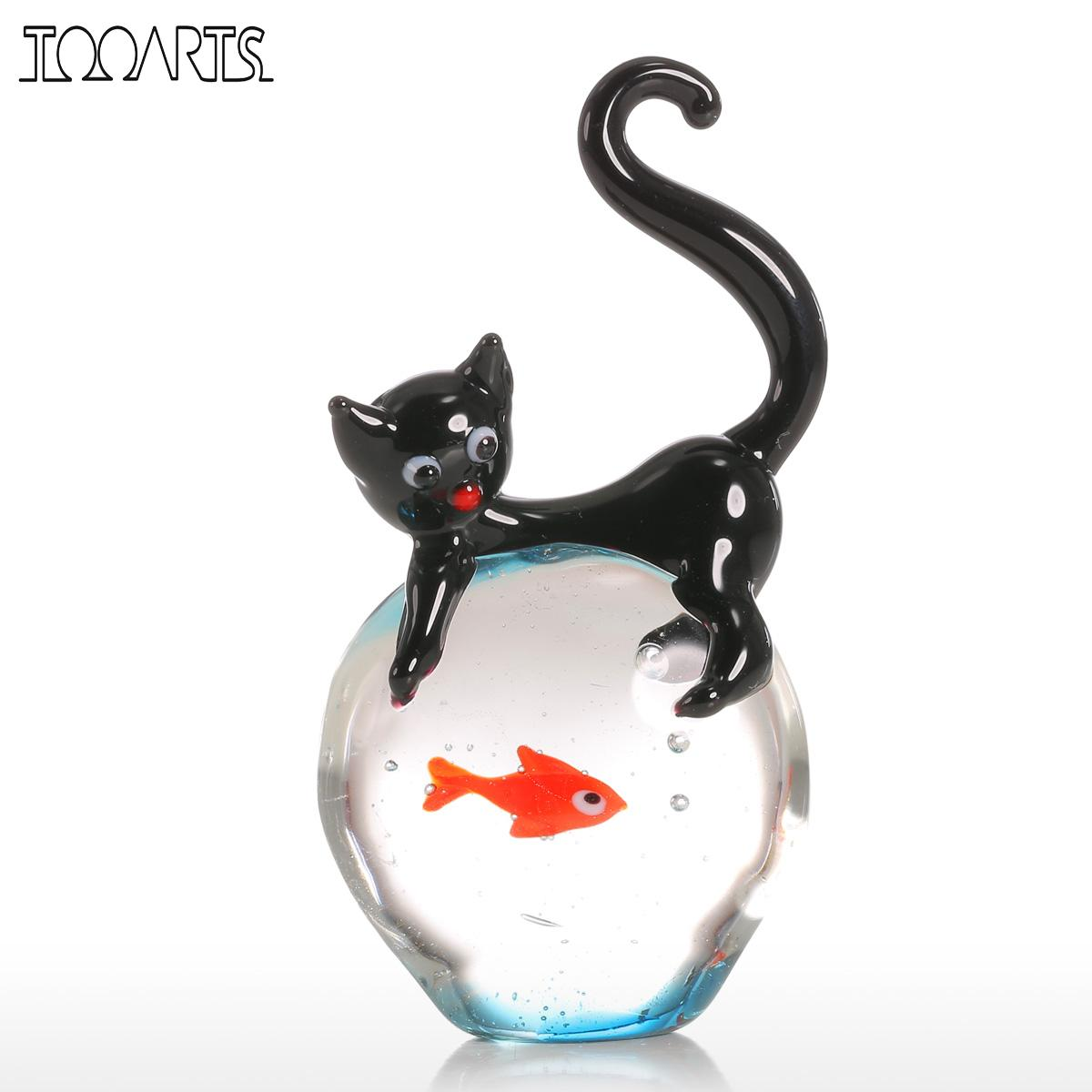 Tooarts Crystal Ball Cat And Goldfish Gift Glass Ball Ornament Animal Figurine Handblown Home Decor Globe Glass Sphere