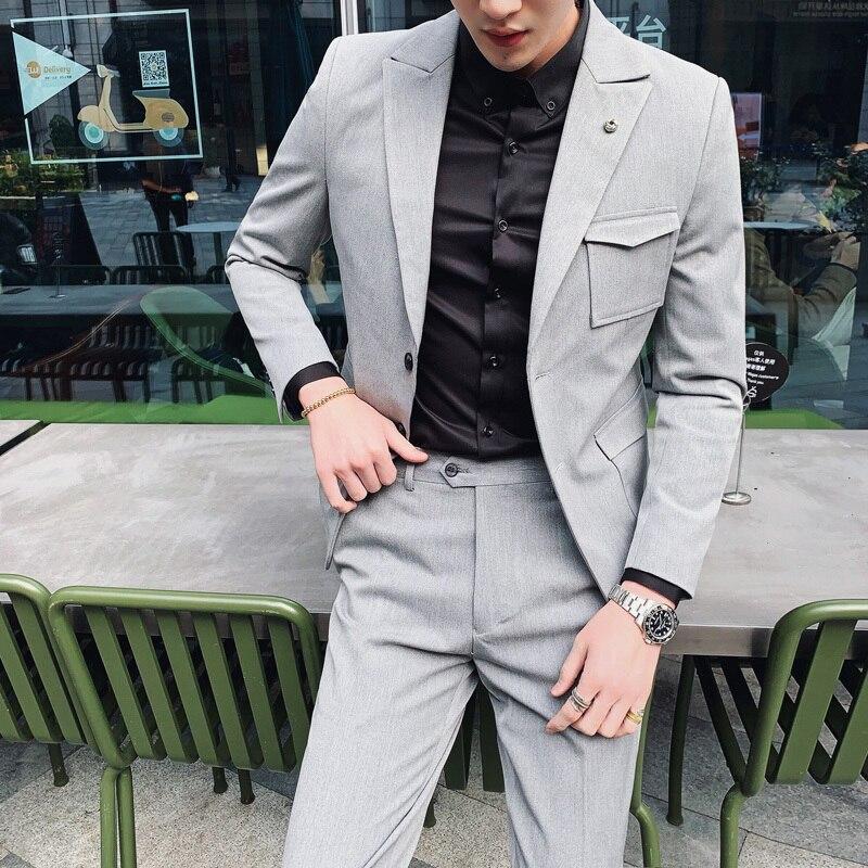 2019 Suits Mens Smoking Slim Fit Gray Black Mens Blazer With Pants Latest Coat Pants Designs Vestidos Elgantes Para Hombre