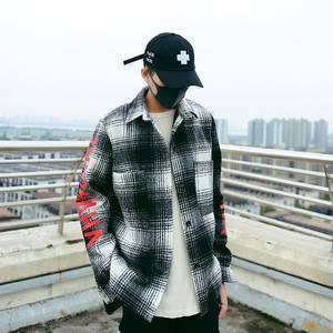 Coat Shirt Printing Men's New-Pattern Wear Woolen Collar-Products Lattice Square Easy-Hip-Hop