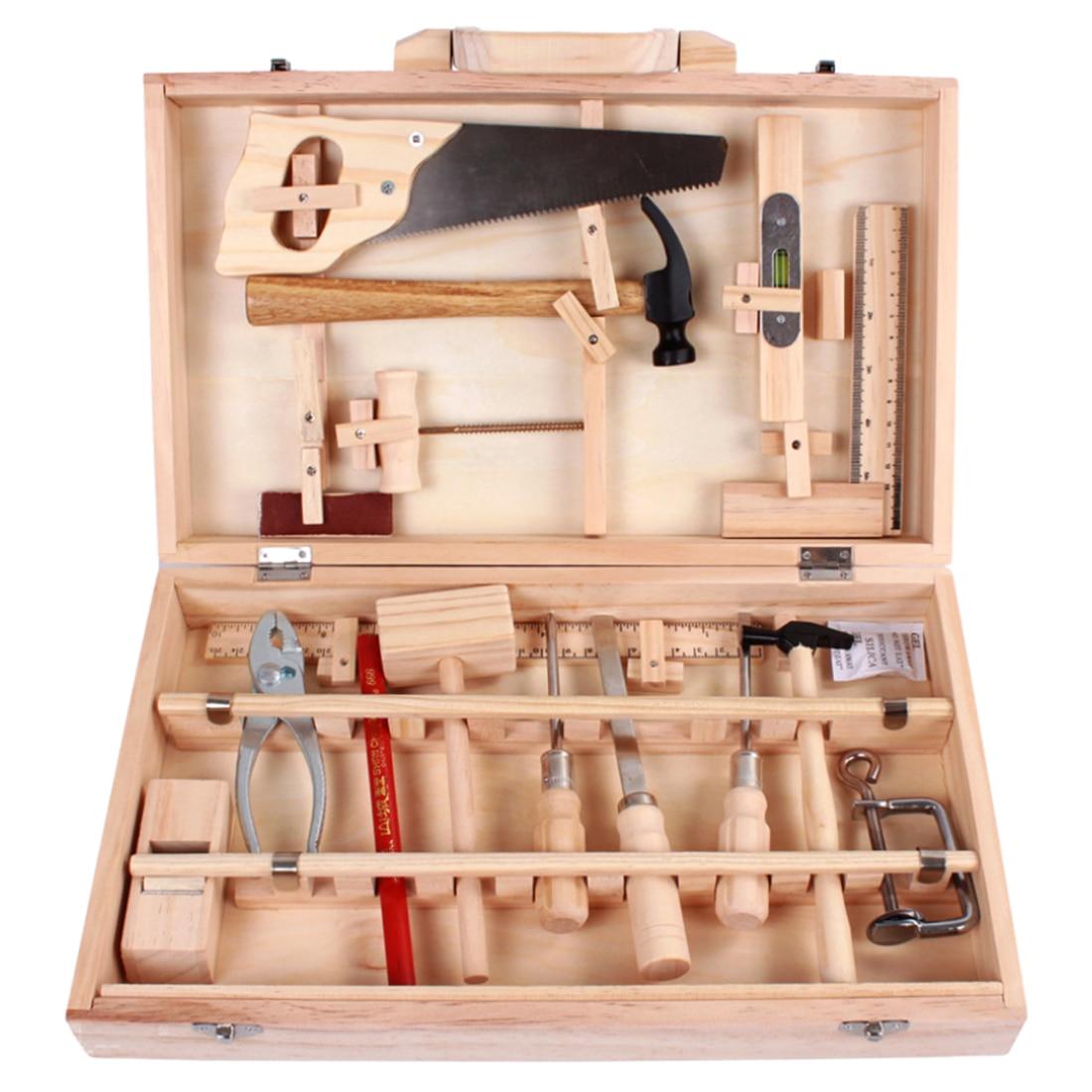 Enfants garçons Durable semblant jouer entretien boîte à outils outil jouets en bois boîte à outils Playset pour garçon mains sur la capacité