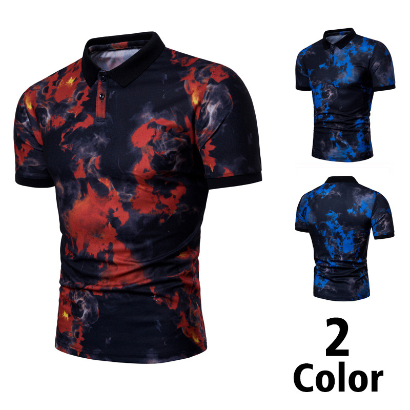 Popular Fashion Red And Blue Flame-printed Short-sleeved Lapel Cotton Polo Shirt For Men Fashionable Patterns Tops & Tees