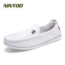NINYOO 2019 Soft Comfortable Men Casual Shoes Genuine Leather Loafers White Moccasins Breathable Spring Driving Footwear