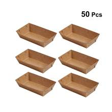 50Pcs Disposable Paper Food Serving Tray Kraft Paper Coating Boat Shape Snack Open Box French Fries Chicken Box (20 x 6 x 3cm)(China)