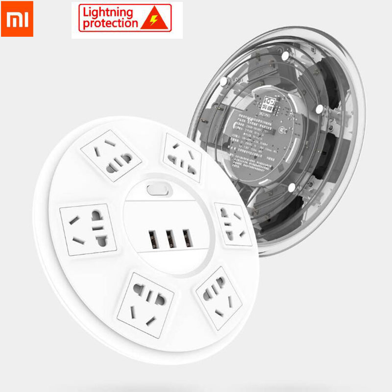 Xiaomi TP Lightning protection Power Strip 6 Ports with 3 USB 2500W 10A Fast Charging 2