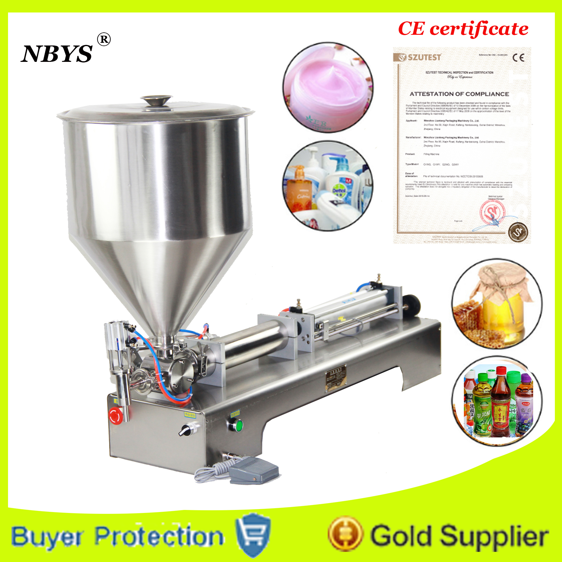 Free Shipping liquid or paste filling machine, pneumatic, semi filler, single head with Cylinder, piston  Бутылка