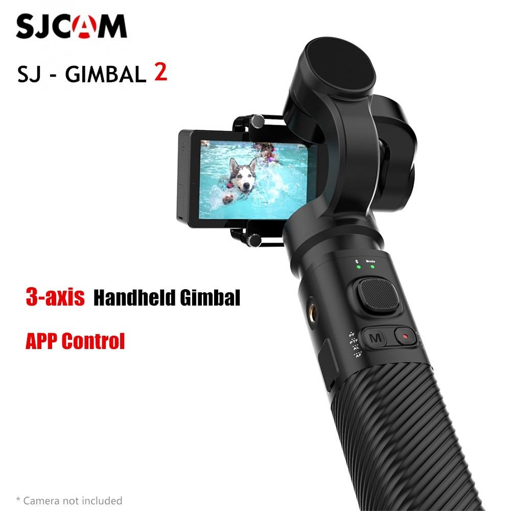 Original SJCAM SJ-GIMBAL 2 3-eixo Cardan Handheld Estabilizador de Controle APP Bluetooth para Câmeras SJCAM ACTION Selfie Vara