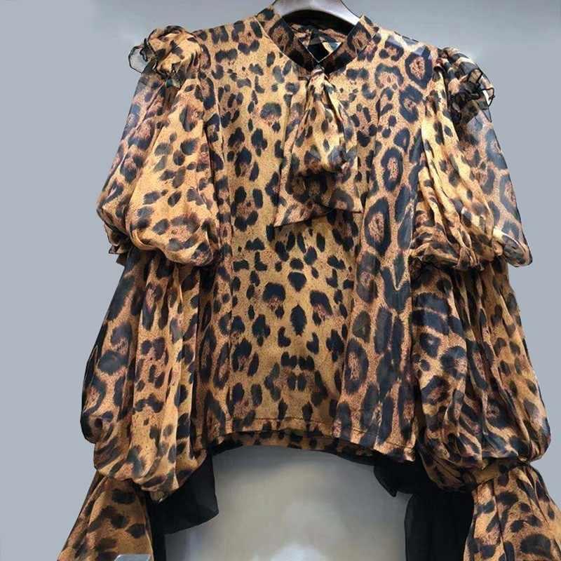 TWOTWINSTYLE Estampa de Leopardo Chiffon Camisa Blusa Mulheres Lace Up Puff Manga Comprida Tops Coreano 2019 Primavera Do Sexo Feminino Moda Vintage