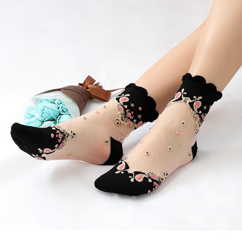 Sale Embroidery Floral Transparent Socks Ultra-thin Lady  Harajuku Literary Casual Short THIN Summer Silk Socks