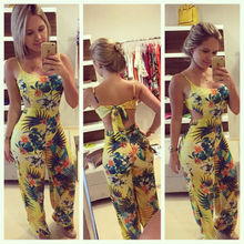 Summer Jumpsuits HOT Summer Women Casual Yellow Print Sleeveless Square Collar Backless Lace Up Jumpsuit цена