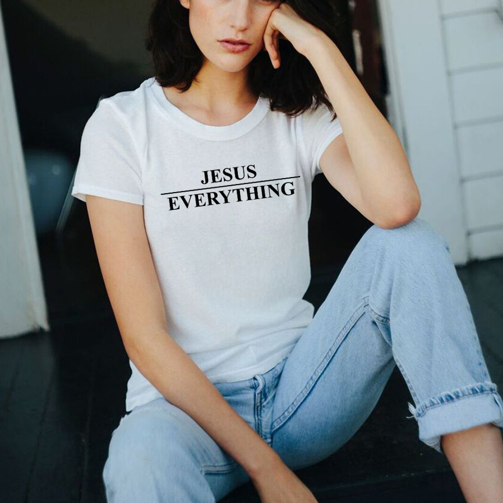 JESUS OVER EVERYTHING   T  -  Shirt   Girl Tumblr Tee Christian Ladies   Shirt   Graphic Letter O-neck   T     Shirt   Casual Hipster Tops