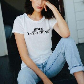 e4a28793f730 Jesús sobre todo camiseta chica Tumblr Tee cristiana señoras camiseta  gráfica letra o-cuello camiseta Casual Hipster Tops