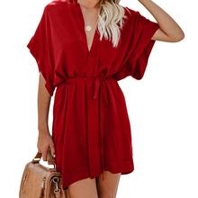 V Neck Tie Waist Mini Skater T Shirt Dress Chic kimono mini dress for women