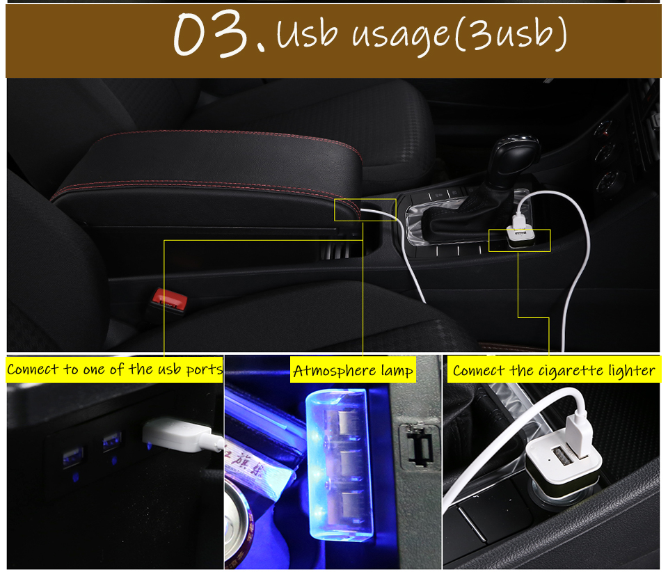 Image 4 - for Suzuki Vitara armrest box universal car center console caja  modification accessories double raised with USB-in Armrests from Automobiles & Motorcycles