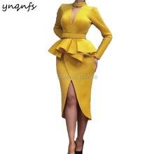 Атласное Вечернее платье ynqnfs e46 длиной ниже колена с открытым