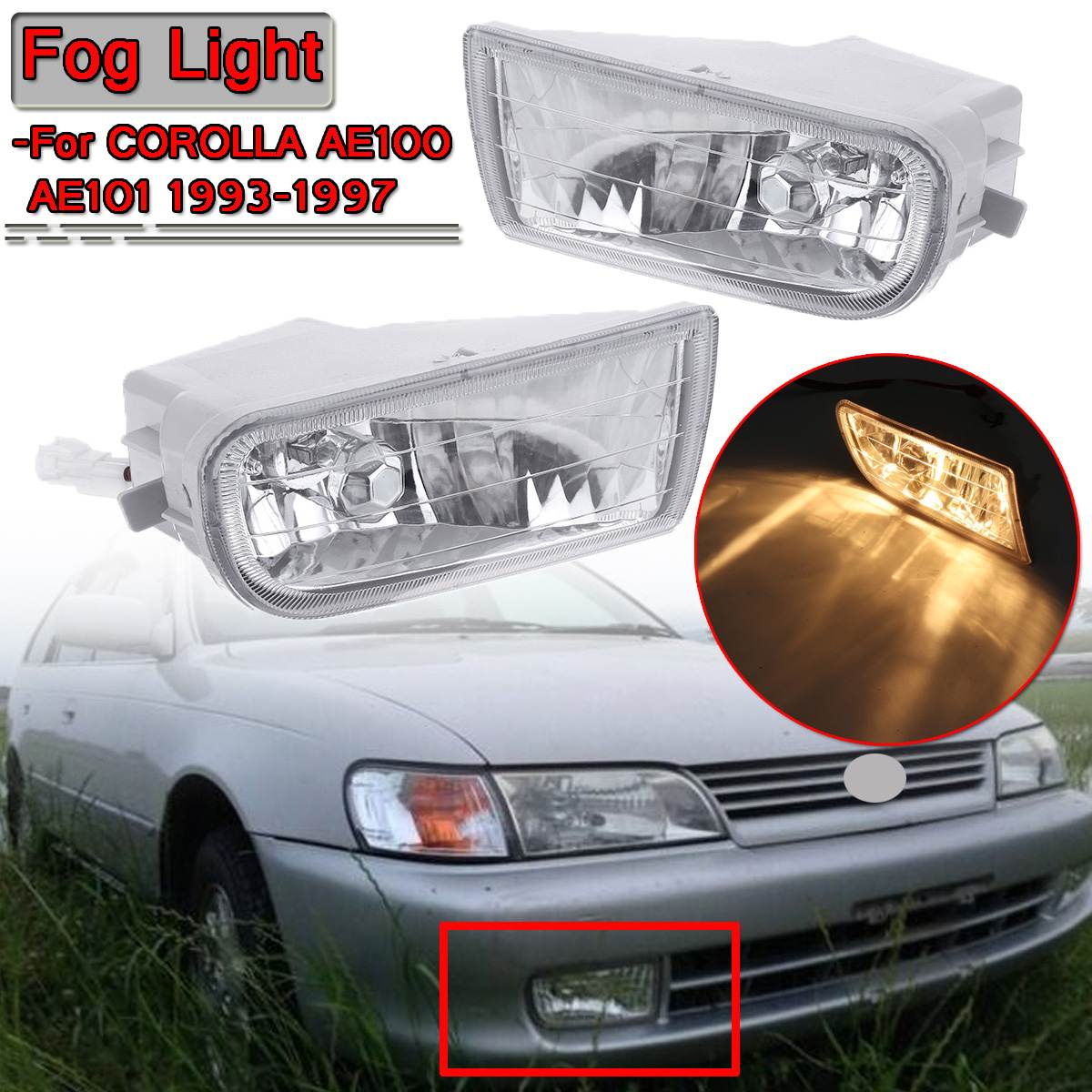 A Pair Left & Right Car Stying Front Fog Light LED Fog Lamp LED For <font><b>Toyota</b></font> For <font><b>Corolla</b></font> AE100 <font><b>AE101</b></font> 1993-1997 A1649060451 image