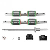 2Pcs HGR20 400mm Linear Guide Linear Rail Slide Carriage CNC Router Part with 4pcs Rail Block Nut Kit Ball Screw Ballscrew New