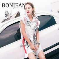 BONJEAN Hole Decoration Playsuit 2019 Summer Short Jumpsuit for Women Clothing Print White Playsuits Straight Playsuits BJ1144