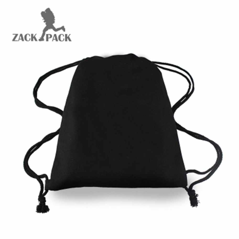 ... 2018 custom logo Canvas Drawstring backpack pouch Pocket Student Sports  Cotton Bag kids men school Small ... 2673a4232f9ad