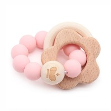 Wooden Teether Baby Bracelet Animal Shaped Jewelry Teething For Organic Wood Silicone Beads Baby Rattle Stroller Accessories Toy