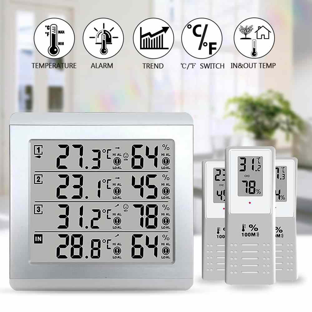 LCD Thermometer Alarm Temperatur Meter Wetter Station tester + 3 Wireless Outdoor Sender Feuchtigkeit Sensor Monitor Alarm